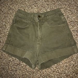 American Apparel army green high waisted shorts